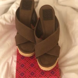 Tory Burch Kristen Brown Fabric Espadrille Wedges